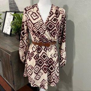 Windsor Long Sleeve Boho Dress with belt Small